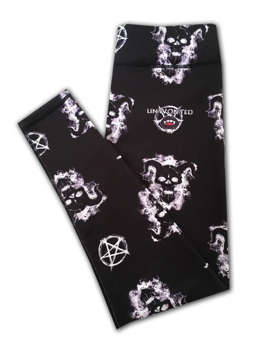 Our Devil leggings are SCARY, STUNNING and SADISTIC!   Deep jet black with white demonic logos.  Squat proof, gym, high waisted, high quality, funky leggings, fitness and yoga, running and pole fitness, exercise.  Unwonted apparel alternative leggings, quirky leggings.